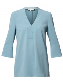 Sage Blue Crepe Tunic Blouse