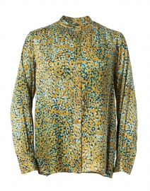 Tiberine Gold and Blue Dotted Satin Blouse