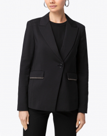 Ecru - Black Stretch Embellished Blazer
