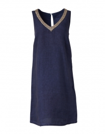 Navy Embellished Linen Dress