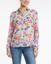 Banjanan - Alfreda Fiesta Blue and Orange Floral Cotton Shirt