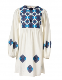 Lucie Ivory and Blue Embroidered Cotton Dress