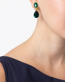 Oscar de la Renta - Emerald Crystal and Malachite Stone Drop Earrings