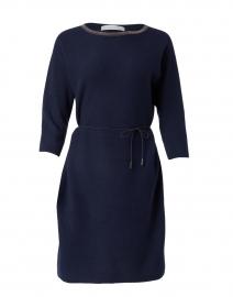 Navy Wool and Silk Knit Dress