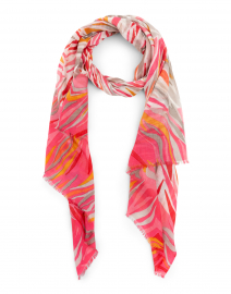 Pink and Orange Ikat Silk and Cashmere Scarf