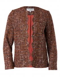Rust Lurex Tweed Scalloped Jacket