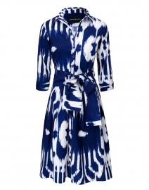 Audrey Cobalt Blue and White Ikat Print Stretch Cotton Dress