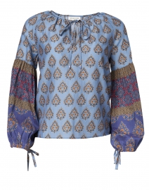 Megan Park - Melike Purple and Blue Print Silk Cotton Top