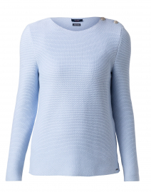 Salvador Pale Blue and White Marled Cotton Sweater