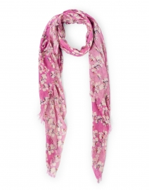 Lavender Floral Silk Cashmere Scarf