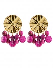 Gold Circular Wave And Magenta Beads Drop Earrings