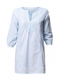 Tangier Blue Silk Embroidered Cotton Kurta Top