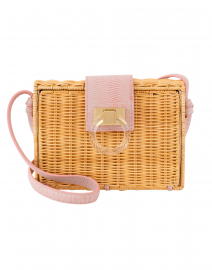 Caroline Carnation Pink Rattan Crossbody Bag
