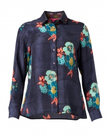 Bella Navy Dandelion Print Silk Shirt