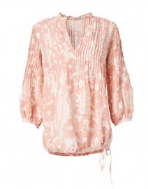 Desert Floral Print Linen Pintucked Shirt