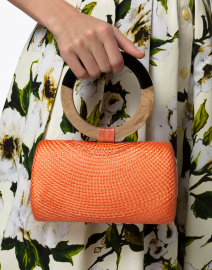 SERPUI - Denise Bun Orange Straw Top Handle Bag