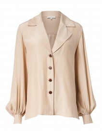 Therese Beige Matte Silk Blouse
