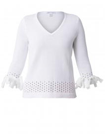 White Cotton Bow Trim Sweater