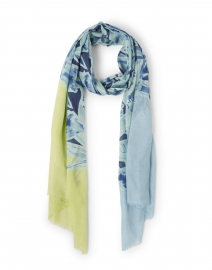 Blue and Lime Coastal Floral Print Silk and Cashmere Scarf
