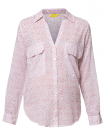 White and Coral Printed Cotton Button Down Shirt