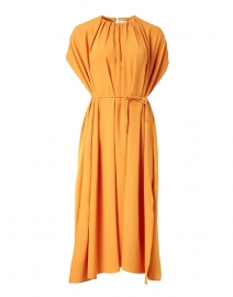 Dibanty Orange Ruched Midi Dress