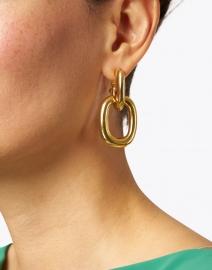 Kenneth Jay Lane - Gold Rectangle Link Doorknocker Earring