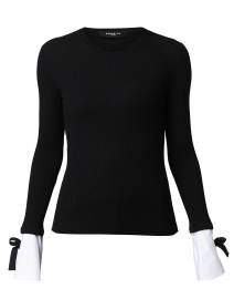 Black Top with White Cuffed Sleeves