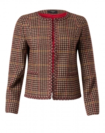 Fanale Bordeaux and Brown Houndstooth Wool Jacket