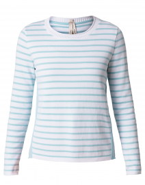 Light Aqua and White Striped Cotton Sweater