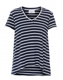 Wonder-V Navy and White Striped Bamboo-Cotton Top