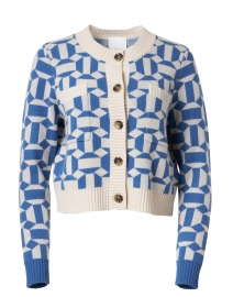 Blue and White Wool Cashmere Geometric Cardigan