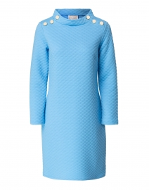 Sea Blue Dot Textured Knit Dress