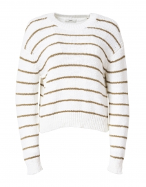 Optic White and Bay Leaf Striped Cotton Sweater