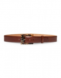 Brown Glazed Calf Leather Belt with Tortoise Buckle