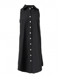 Swing Black Silky Poplin Shirt Dress