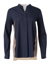 Navy Cotton Stretch Henley Shirt