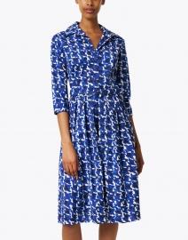 Samantha Sung - Audrey Blue Houndstooth Printed Stretch Cotton Dress