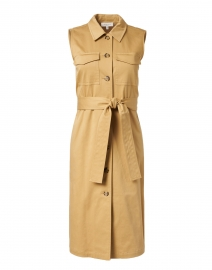 Sonny Honeynut Beige Stretch Cotton Shirt Dress