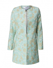 Alice Mint Green Lurex Floral Jacquard Jacket