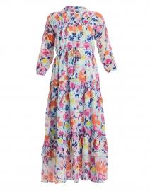 Bazaar Fiesta Blue and Orange Floral Cotton Dress