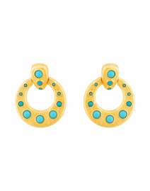 Gold and Turquoise Doorknocker Clip Earring