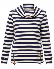 Navy and Ivory Striped Cotton Sweater