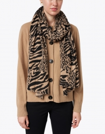 White + Warren - Patched Animal Cashmere Mini Travel Wrap