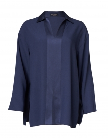Piazza Sempione - Navy Satin Cady Blouse