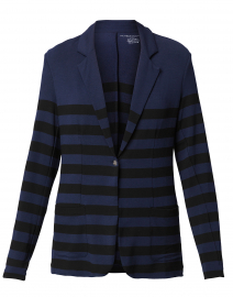 Navy and Black Striped French Terry Blazer