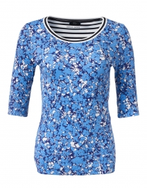 Blue Floral Print Stretch Cotton Top