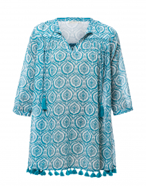 Serafina Teal Medallion Printed Tunic