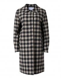 Black and Cream Gingham Wool Blend Coat