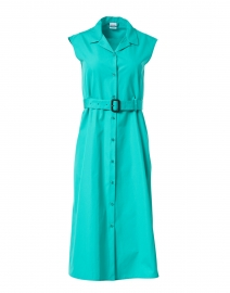 Aqua Cotton Poplin Shirt Dress