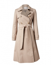 Beige Stretch Cotton Trench Coat